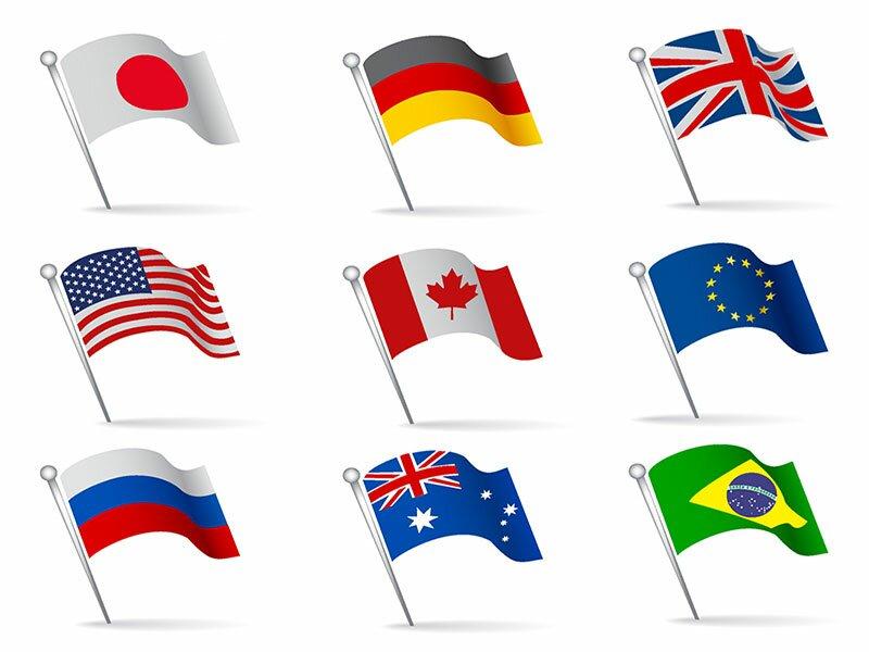 Гербы и флаги в векторе